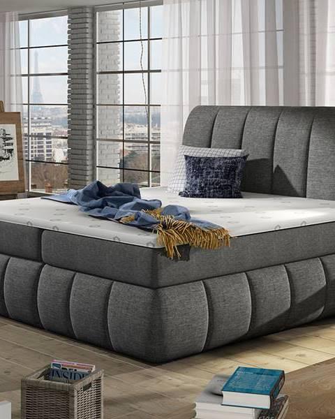 NABBI Vareso 180 čalúnená manželská posteľ s úložným priestorom sivá (Sawana 05)