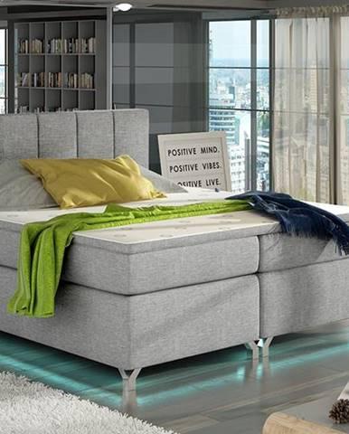 Barino 140 čalúnená manželská posteľ s úložným priestorom svetlosivá
