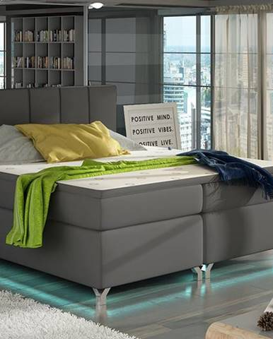 Barino 160 čalúnená manželská posteľ s úložným priestorom sivá (Soft 29)