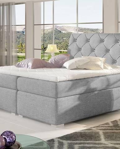 Beneto 140 čalúnená manželská posteľ s úložným priestorom svetlosivá (Sawana 21)