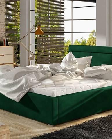 Branco UP 160 čalúnená manželská posteľ s roštom tmavozelená