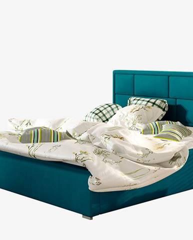 Liza 160 čalúnená manželská posteľ s roštom tyrkysová