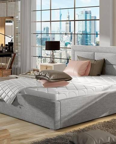 Rovigo 200 čalúnená manželská posteľ s roštom svetlosivá (Sawana 21)