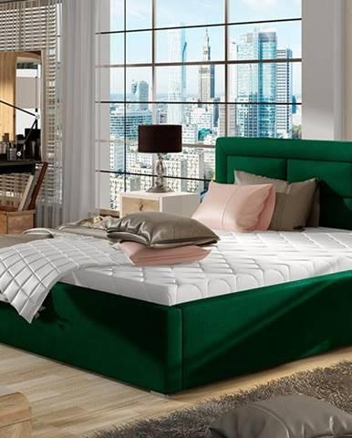 Rovigo UP 140 čalúnená manželská posteľ s roštom tmavozelená