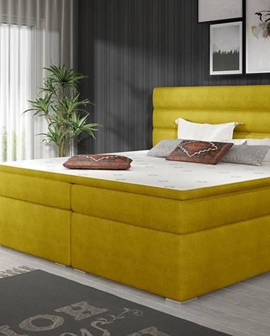 Spezia 160 čalúnená manželská posteľ s úložným priestorom žltá