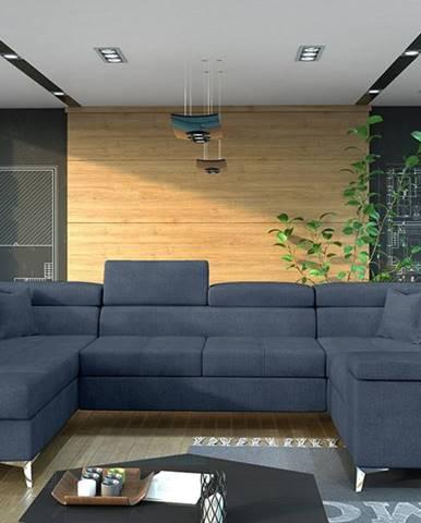 Torres U P rohová sedačka u s rozkladom a úložným priestorom modrá