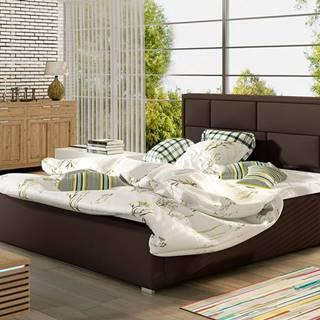 Liza UP 180 čalúnená manželská posteľ s roštom tmavohnedá (Soft 66)