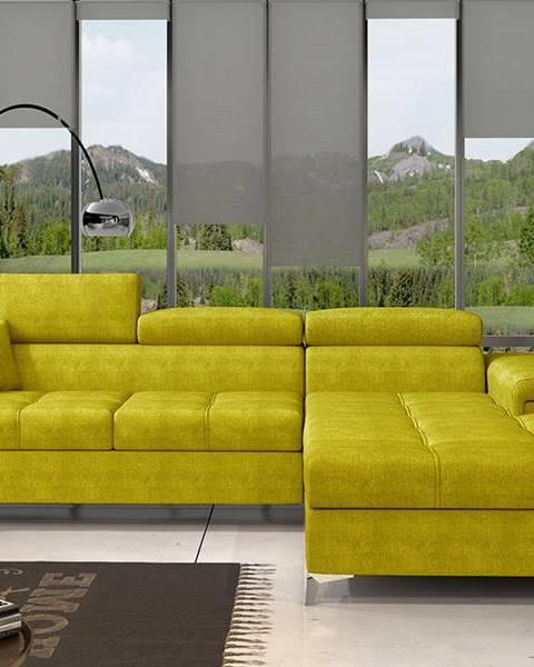 NABBI Rosino P rohová sedačka s rozkladom a úložným priestorom žltá