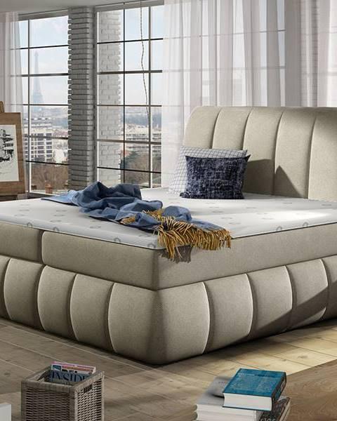 NABBI Vareso 180 čalúnená manželská posteľ s úložným priestorom svetlohnedá (Orinoco 22)