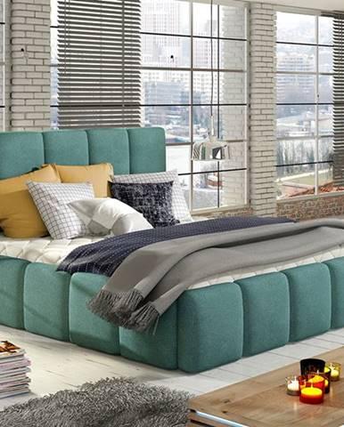 Evora 140 čalúnená manželská posteľ svetlomodrá
