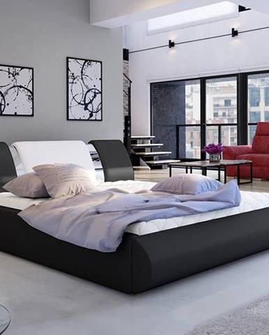 Folino 160 čalúnená manželská posteľ s roštom čierna
