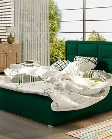 Liza 200 čalúnená manželská posteľ s roštom tmavozelená
