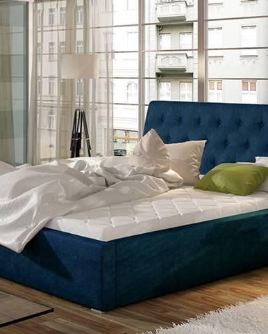 Monzo UP 200 čalúnená manželská posteľ s roštom tmavomodrá