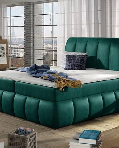 Vareso 160 čalúnená manželská posteľ s úložným priestorom tmavozelená