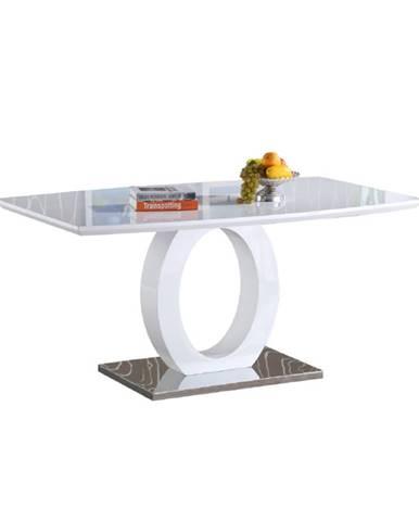Zarni jedálenský stôl biely vysoký lesk