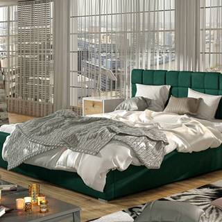 Galimo UP 200 čalúnená manželská posteľ s roštom tmavozelená
