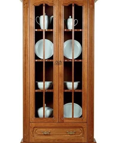 Kinga rustikálna dvojdverová vitrína drevo D3