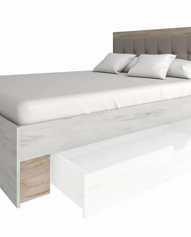 Malbo 160 manželská posteľ s roštom sivý dub craft