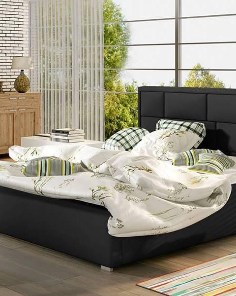 NABBI Liza 200 čalúnená manželská posteľ s roštom čierna