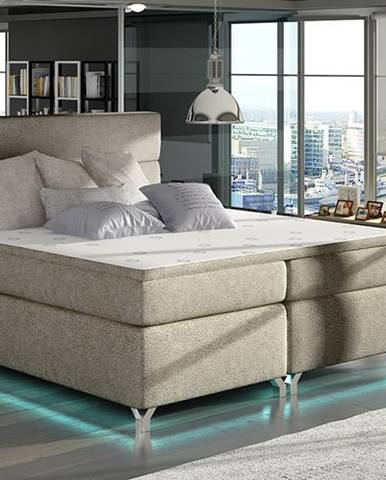 Avellino 180 čalúnená manželská posteľ s úložným priestorom svetlohnedá