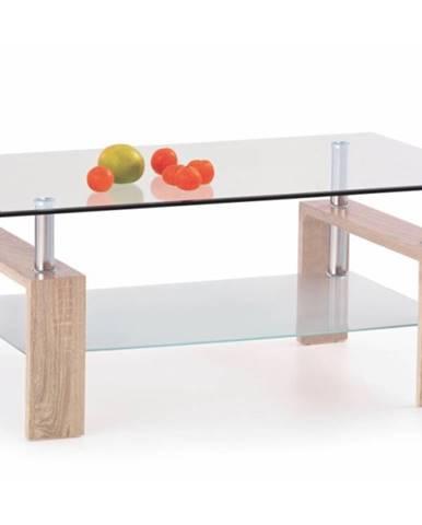 Diana H sklenený konferenčný stolík dub sonoma