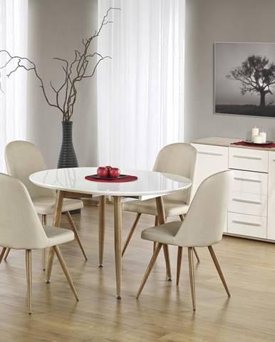 Edward rozkladací jedálenský stôl biely lesk