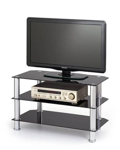 RTV-21 sklenený tv stolík čierna