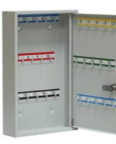 SK30 kovová skrinka na kľúče s pevnými háčikmi svetlosivá