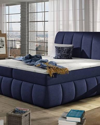 Vareso 140 čalúnená manželská posteľ s úložným priestorom tmavomodrá (Ontario 81)
