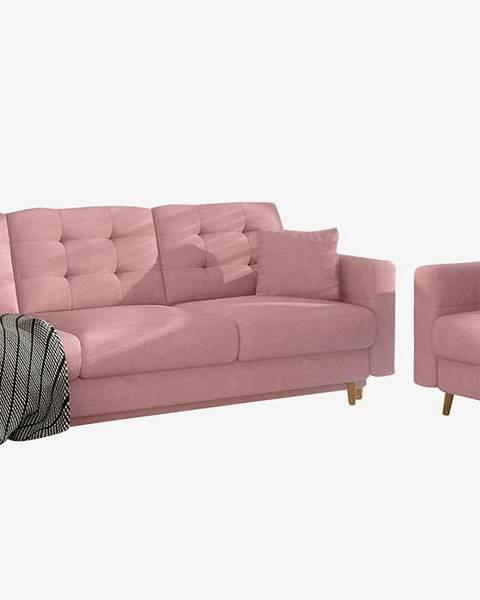 NABBI Aveza 3+1 rozkladacia sedacia súprava ružová