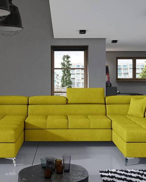 NABBI Enrico U P rohová sedačka u s rozkladom a úložným priestorom žltá