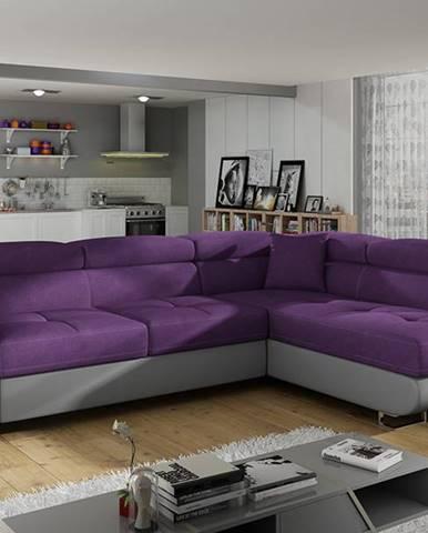 Almero P rohová sedačka s rozkladom a úložným priestorom fialová