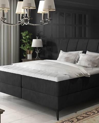 Altama 140 čalúnená manželská posteľ s úložným priestorom čierna (Ontario 100)