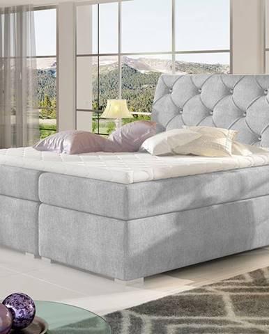 Beneto 160 čalúnená manželská posteľ s úložným priestorom svetlosivá (Omega 02)
