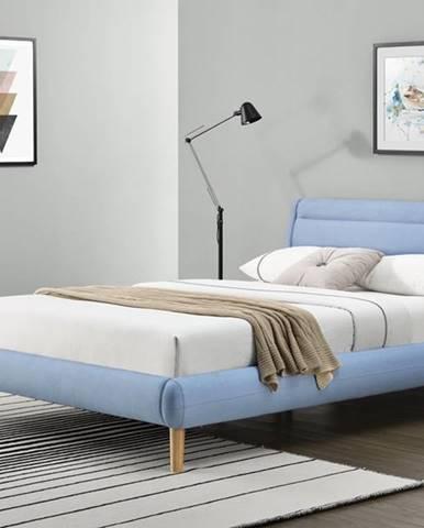 Elanda 140 čalúnená manželská posteľ s roštom svetlomodrá
