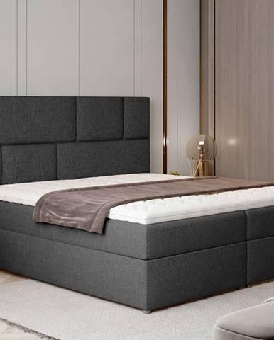 Ferine 165 čalúnená manželská posteľ s úložným priestorom tmavosivá