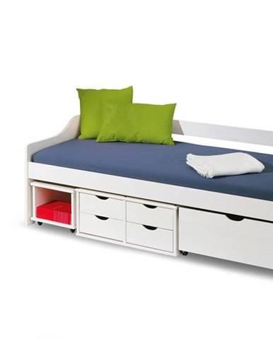 Floro 2 90 jednolôžková posteľ s roštom a úložným priestorom biely lesk