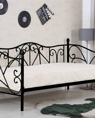 Sumatra 90 kovová jednolôžková posteľ s roštom čierna