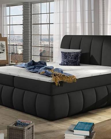 Vareso 160 čalúnená manželská posteľ s úložným priestorom čierna (Sawana 14)