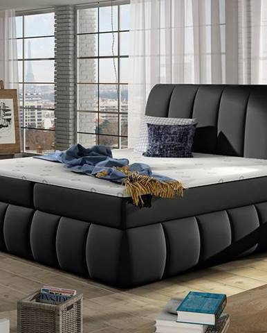 Vareso 180 čalúnená manželská posteľ s úložným priestorom čierna (Soft 11)