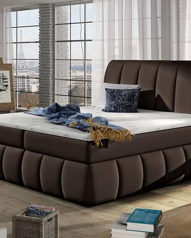 Vareso 180 čalúnená manželská posteľ s úložným priestorom tmavohnedá (Soft 66)