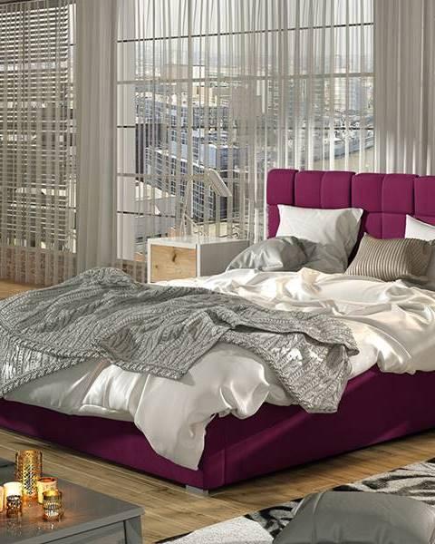 NABBI Galimo 140 čalúnená manželská posteľ s roštom vínová