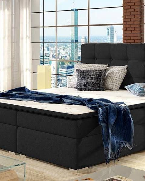 NABBI Isola 140 čalúnená manželská posteľ čierna (Sawana 14)