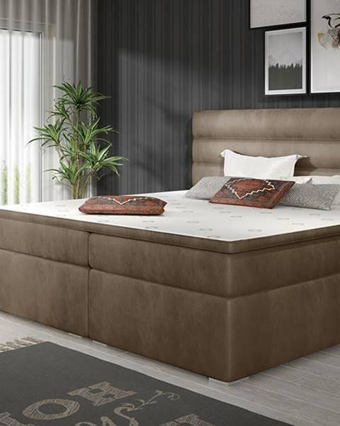 NABBI Spezia 160 čalúnená manželská posteľ s úložným priestorom hnedá