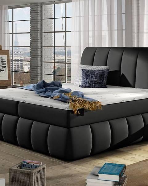 NABBI Vareso 160 čalúnená manželská posteľ s úložným priestorom čierna (Soft 11)