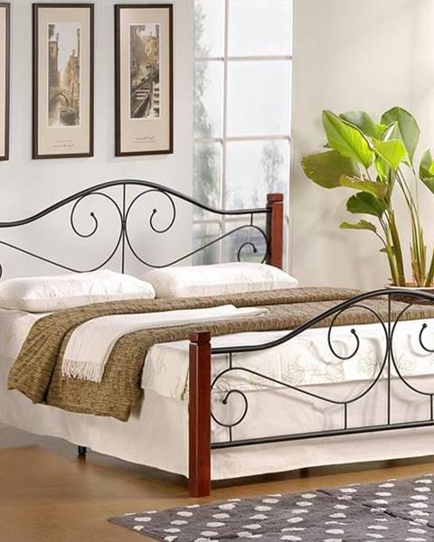 Halmar Violetta 140 kovová manželská posteľ s roštom čerešňa antická