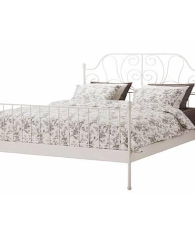 Behemoth 160 kovová manželská posteľ s roštom biela