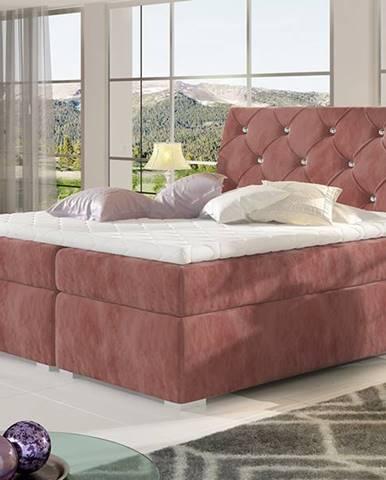Beneto 180 čalúnená manželská posteľ s úložným priestorom ružová (Kronos 29)