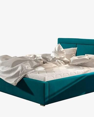 Branco UP 160 čalúnená manželská posteľ s roštom tyrkysová