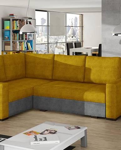 Castelo L rohová sedačka s rozkladom a úložným priestorom žltá